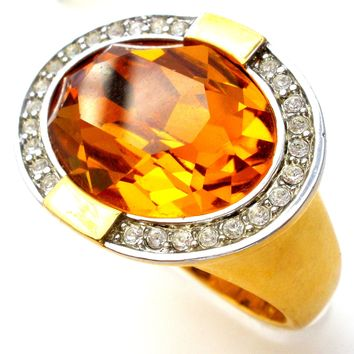 Joan Rivers Citrine CZ Cocktail Ring Size 9