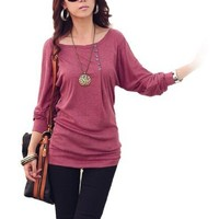 Allegra K Women Batwing Sleeves Pullover Tops Casual Slim T Shirt