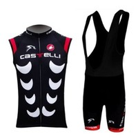 Coolchange 2013 New Styles Sleeveless Bicycle Cycling Jersey & Bib Shorts Set Coolmax Padding for Summer Team Castelli (L)