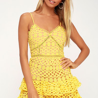 Beauty and Lace Yellow Crochet Lace Mini Dress