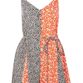 Mix Print Button Front Romper Playsuit | Topshop