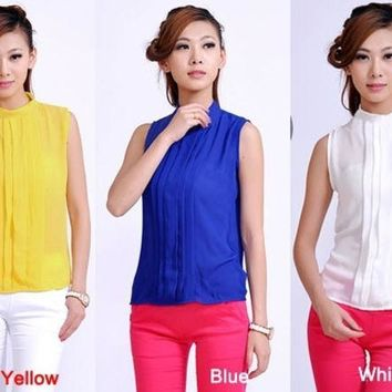 CREYUG3 Women Lady Rhinestone Embellished Collar Sleeveless Chiffon Tops Shirt SV000918
