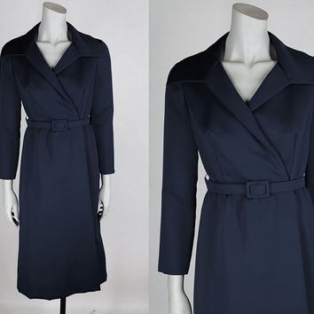 Vintage 70s Dress / 1970s Dark Blue Designer Mollie Parnis Minimalist Wrap Dress M