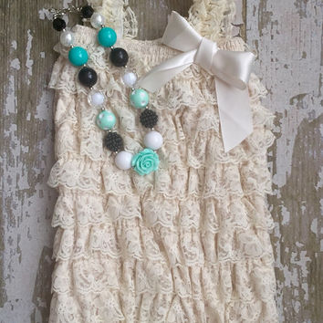 Ivory lace petti romper, teal and Ivory romper, baby romper, infant romper, Ivory and green baby set, teal necklace, black and aqua
