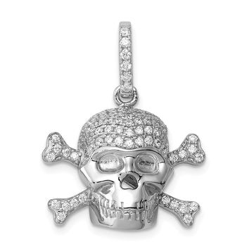 925 Sterling Silver Rhodium Plated and Cubic Zirconia Skull Shaped Pendant