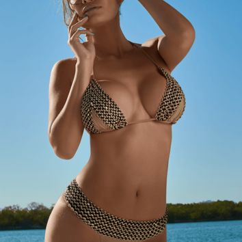 Notorious Swimwear Luxurious Sequin Tan Triangle Top & Cheeky Scrunch Bottom Swimsuit Bikini Set