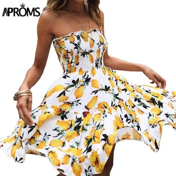 Aproms Yellow Fruit Floral Print Short Dress Summer Ruffle Off Shoulder Dresses Women Casual Beach Sleeveless Tube Sundress