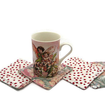 Fabric Coasters Set Red Polka Dots  Set Of 4 Drink Coasters  Floral  Coasters Mug Rug  Fabric Mug Rug 2 Sided Coasters Reversible