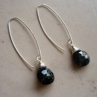 Spinel Teardrop Earrings Wire Wrapped in Sterling Silver, Spinel Dangle Earrings