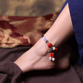 Chinese Handmade Ceramic Beads Rope Anklet Jewelry