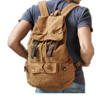 Military Canvas Leather Hiking Travel Rucksack Backpack on-the