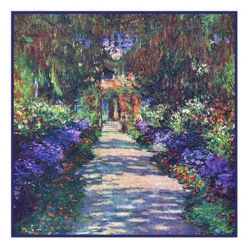 The Garden Path in Giverny inspired by Claude Monet's impressionist painting Counted Cross Stitch or Counted Needlepoint Pattern