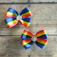 Rainbow Hairbows, Basic Mini Hair Bows, Set of 2 Pigtail Bows Toddler Hair Bows, Newborn Hair Bows
