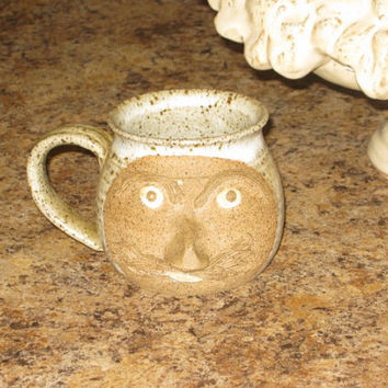 Vintage  Pottery Ugly Face Head Coffee Mug by BrilbunnySelections