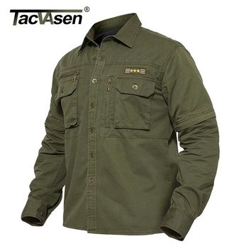 Trendy TACVASEN Light Weight Military Jacket Men Spring Cotton Jacket Coat Tactical Jackets Detachable Sleeve Cargo Coat TD-BJZS-002 AT_94_13