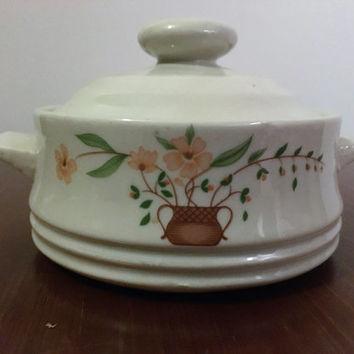 "Vintage 1980 Countryside Stoneware Collection ""Pink Dogwood"" Mini Casserole Dish / Oven to Table Convenience / Retro Sugar Bowl"