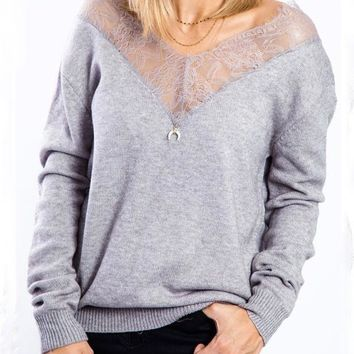 New Grey Lace Off Shoulder V-neck Long Sleeve Casual Pullover Sweater