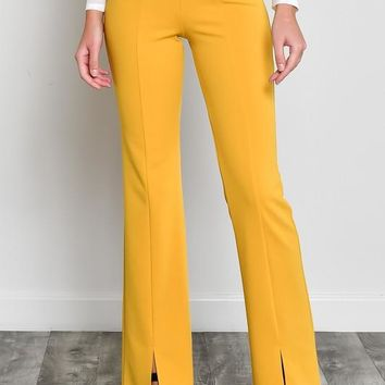 High Waist Front Slit Pants