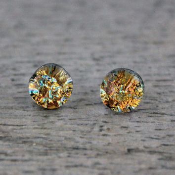 Sterling Silver Studs Pale Orange with Mint Green Fused Dichroic Glass Stud Earrings, Fused Glass Jewelry, Dichroic Earrings, Dichroic Studs