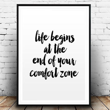 "Inspirational quote ""Life begins at the end of your comfort zone"" Motivational Art Watercolor Printable Wall Art Gym Poster Fitness Quote"