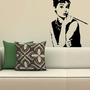 Audrey Hepburn Wall Decal Made To order Fast Production Shipping within 24 hours...Several Color Opt