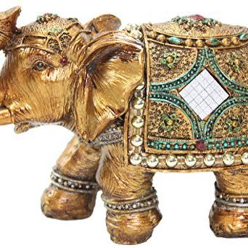 """Stunning Gold Color 6"""" Elephant Trunk Statue Wealth Lucky Feng Shui Figurine Home Decor Birthday Congratulatory House Warming Gift US Seller (G16180)"""