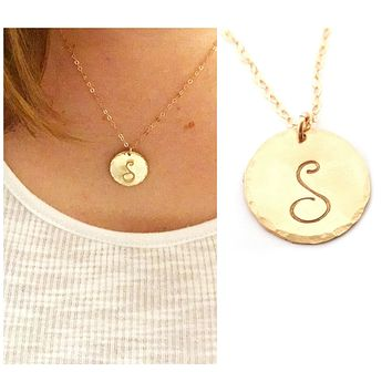 Hammered Gold Filled Disc Personalized Initial Necklace