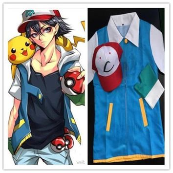 Ash Ketchum Trainer Costume Cosplay Jacket + Gloves + Hat Ash Ketchum Costume Free Shipping Superstar Town