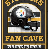 Pittsburgh Steelers Fan Cave Wood Sign