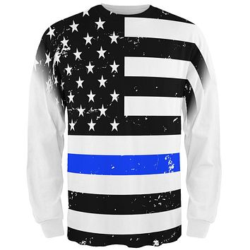 Distressed Thin Blue Line American Flag All Over Mens Long Sleeve T Shirt