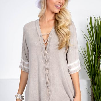 Earth Beige Lace-Up Top