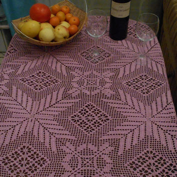 Pink dream tablecloth crochet, openwork tablecloth, home decor
