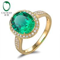 Vintage 3.38ct Emerald & 0.35ct Diamond Engagement Ring Jewelry 18k Yellow Gold Ring