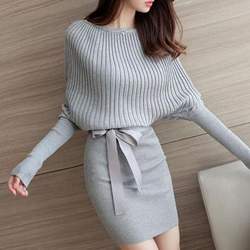 EFINNY Casual Long Knitted Sweater Dress Women Cotton Slim Bodycon Dress Pullover Female Autumn Winter Dress