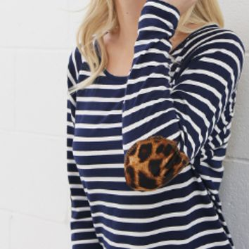 Stripe top with leopard elbow patches