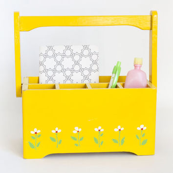 Vintage Bright Yellow Wood Desk Caddy, Teleflora Letter Pencil Supply Organizer, Napkin Silverware Holder, Flower Print