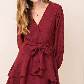 Textured Tiered Dress with Self-Tie at Waist