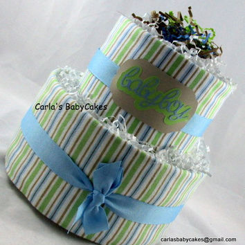 Boy Diaper Cake,Blue Diaper Cake, Baby Diaper Cake, New Mom Gift, Baby Shower Decoration, New Baby Gift, Baby Shower Gift, Diaper Cake