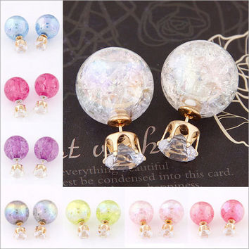 Sparkle Crystal Double Pearl Stud Earrings Jewelry FREE SHIPPING