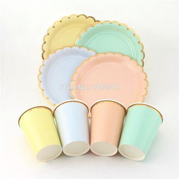 80pcs Free Shipping scallop edge Paper Plates Paper Cups Mint/peach/yellow/blue Gold Foil Tableware Unicorn Party Mermaid Pastel