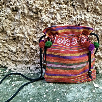 Ethnic festival drawstring bag with pom pom Purse crossbody tribal Boho fabric Hippies Folk Styles Phone Case Bohemian pattern coin pouch