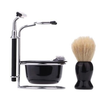 4 In 1 Men's Manual Razor Set Stainless Steel Stand Holder 5 Blades