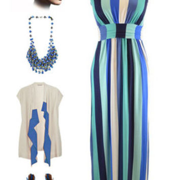 Vintage Inspired Aqua & Navy VERTICAL STRIPE Print Strapless MAXI Sun Dress