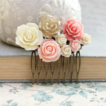 Bridal Hair Comb Pink and Gold Wedding Romantic Hair Accessories Floral Collage Comb Country Chic Blush Pink Rose Bridesmaids Gift