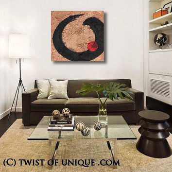 Zen Abstract Painting, Large ORIGINAL Abstract Wall Art, Large Enso  painting, Zen Circle Painting, -Black, Tan, Brown, Red,