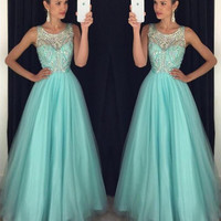 Gorgeous Scoop Neck A Line Crystal Beading Long Tulle Prom Dress Light Blue Open Back Evening Formal Party Gowns Dresses 2016