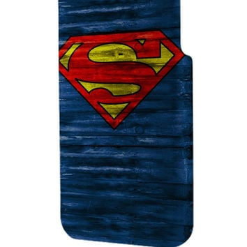 Best 3D Full Wrap Phone Case - Hard (PC) Cover with Superman Logo on Wood Design