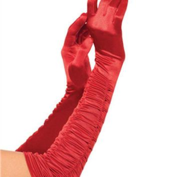 CREYI7E Opera length ruched satin gloves in RED