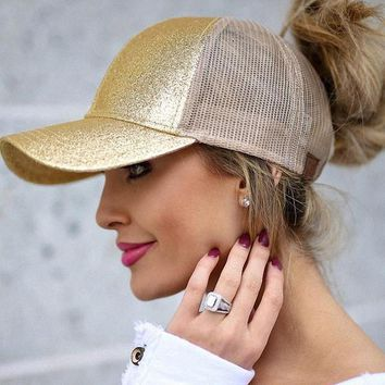 Glittered Messy Bun Ponytail Snapback Baseball Cap