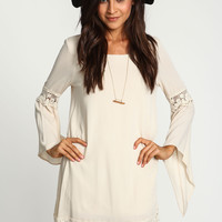 Cream Crochet Bell Crepe Dress